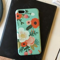 Rifle paper co iPhone 6s Plus case Floral mint case. Used for about a month. Light wear. Anthropologie Accessories Phone Cases