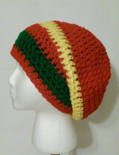 Crochet Hat, Red, Yellow, and Green Crochet Slouchy Beanie, Red Slouchy Beanie, Winter Hats, Ready to Ship (#25-520) by NoreensCrochetShop on Etsy