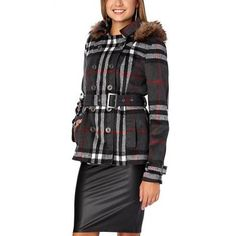 Fur Trim Plaid Wool Double Breasted Coat from Rue 21