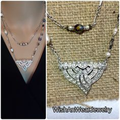 Art Deco Rhinestone Dress Clip Redesigned Necklace Crystals Fresh Water Pearls Layered Matte Silver Handmade Repurposed Original WishAnWear by WishAnWearJewelry on Etsy