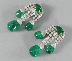 Giovane Cabochon Emerald Diamond Gold Drop Earrings.