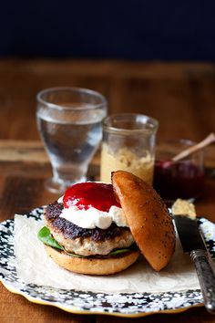 Herb Turkey Burger with goat's cheese and cranberry sauce