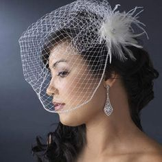 Featherpiece Beautiful Wedding Veil Hairstyle with Chic Bridcage -Serendipity
