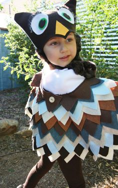 Owl Costume in Blue & Brown Colors- Imagination Play- Dress Up- Halloween. $74.00, via Etsy.