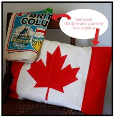 @Laurie Everett I got inspired last year by all those Union Jacks showing up in furniture and decor, so I picked these inexpensive tea towels up at Annie Laurie's Antiques. Over the weekend, I actually got around to doing something with them. Now, if only I knew someone from Canada, I would invite them over to admire my new pillow.