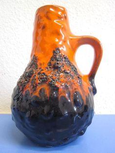 Kreutz-Keramik German jug vase pitcher ceramic lava 60s 70s mid-century WGP