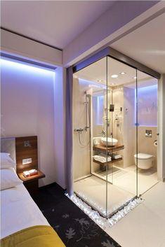 hotel bathroom Glass-wall bathroom of PURO Hotel Wroclaw. Open Bathroom, Glass Bathroom, Minimal Bathroom, Budget Bathroom, Bathroom Ideas, Glass Shower, Bathroom Remodeling, Master Bathroom, Hotel Bedroom Design