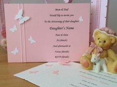10 Handmade Christening Invitations Butterflies Boy Girl Twins Pink Blue