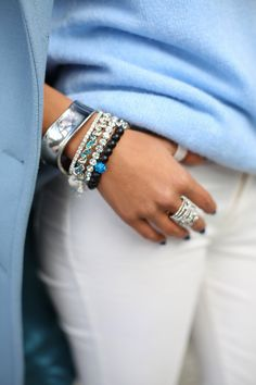 Black + Silver + Blue Arm Party