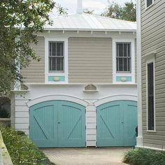 turquoise garage doors