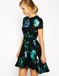 9cb331d4ad ASOS Skater Dress with Dipped Hem in Blue Floral Print Floral Dresses With  Sleeves
