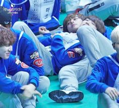"""Youngjae lying on V and idk is V lying on mark's leg I love to see them being…"