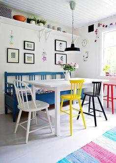 Skulle gjerne hatt en blå benk på kjøkkenet...