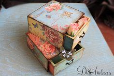 2 Wooden jewelry drawer decoupage drawer shabby chic by ArtDidi