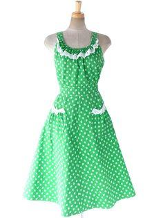 ヨーロッパ古着 ロンドン買い付け 60年代製 グリーン X ホワイト 小花柄 レース縁取り ポケット付き ワンピース 18OM005