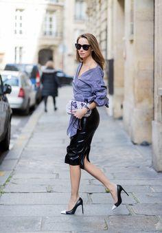 Atsuko Kudo, Latex, latex skirt, Storets, ruched sleeve top, Chanel, Saint Laurent, IWC, Celine, Paris, PFW