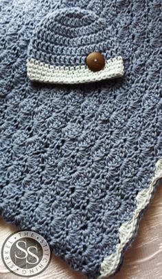 Crochet Crib Size Blue Baby Blanket & Hat by TheStitchingSirkel, $45.00