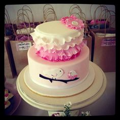 Vintage Rustic Shabby Chic Baby Shower Cake - Its a Girl