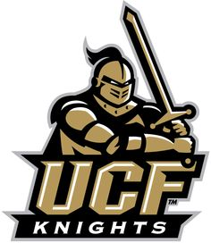 Central Florida Knights Primary Logo (2007) - A gold knight holding a sword above 'UCF'