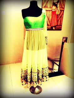 White with neon green anarkali