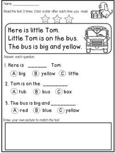 Reading Worksheets for Kindergarten Activities 2 then Free Kindergarten Reading Prehension and Fluency – All The Shops Online First Grade Reading Comprehension, Reading Comprehension Worksheets, Reading Fluency, Reading Intervention, Reading Passages, Kindergarten Reading, Kindergarten Teachers, Kindergarten Worksheets, Reading Skills