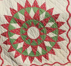 Impressive Early 1800's Mariners Compass Star Quilt Red and Green | eBay