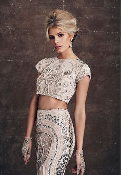 Belluccio Nicola Williams crop top, skirt and gloves // Just the Two of Us: A Luxe Bridal Fashion Editorial