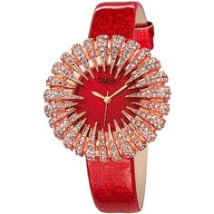 Bürgi Red & Rose Gold Flower Crystal Watch (2.320 UYU) ❤ liked on Polyvore featuring jewelry, watches, red gold jewelry, red jewelry, faux watches, red crystal jewelry and analog watches