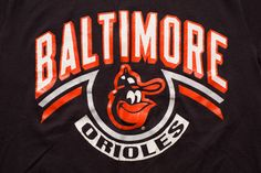 Vintage 80s Baltimore Orioles Bird Logo and Text T-Shirt, MLB Baseball Team Apparel