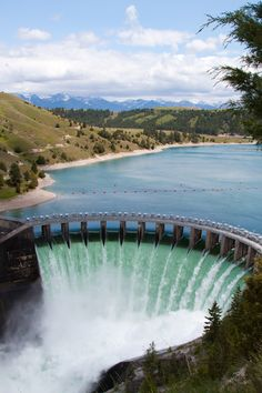 Kerr Dam at Flathead Lake - Polson, Montana;  not an official waterfall, but the dam is allowing water to spill over the 204 feet tall dam after spring rains, and it is a pretty sight