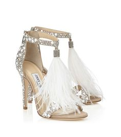"""Jimmy Choo 2016 silver heels, tassels what more could you want for your wedding shoe! Beautiful blue wedding shoes with fabulous decorative embelishment; add that """"something blue"""" to your wedding day look. Cute Shoes, Women's Shoes, Me Too Shoes, Shoe Boots, Dress Shoes, Gold Shoes, Flat Shoes, Louboutin Shoes, Dress Sandals"""