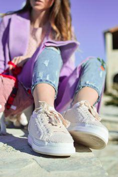 Faux Fur Sneakers / Purple Winter Coat by Tamara Bellis Shiny Honey Fashion and Lifestyle Blog