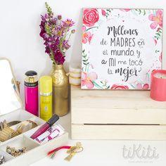 "Día de las Madres / Mother's Day Pieza MDF + Print 10 x 10"" http://www.tikiti.com.do/"
