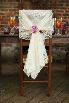 Vintage style chair wrap using a lace curtain <3