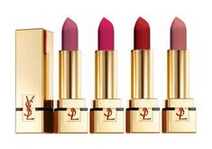 Yves Saint Laurent Rouge Pur Couture The Mats Lipsticks in (L-R) 207 Rose Perfecto, 208 Fuchsia Fétiche, 209 Red Rhythm & 210 Nude Acoustic