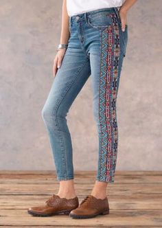 Browse the Women's Denim Shop at Sundance. Enjoy the authentic style you'll find in every pair of jeans in this collection. Diy Jeans, Jeans Refashion, Women's Jeans, Denim And Lace, Denim Shop, Denim Fashion, Fashion Outfits, Floral Jeans, Kurti Designs Party Wear