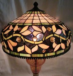 """Lovely Vintage Tiffany Style Leaded Glass Lamp Shade 13 1/2"""" Wide Jeweled Insets"""