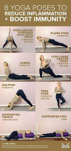 8 Yoga Poses to Calm Inflammation (Fight the Flu & Cold) - Ellise M. 8 Yoga Poses to Calm Inflammation (Fight the Flu & Cold) – Yoga Fitness, Health Fitness, Sup Yoga, Ashtanga Yoga, Bikram Yoga, Beginner Yoga, Yoga For Beginners, Yoga Inspiration, Pilates