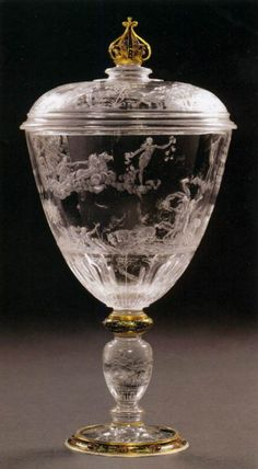 * Annibale Fontana  Lidded Goblet, before 1569.  Rock crystal, enamelled gold setting.  Kunsthistorisches Museum, Vienna.