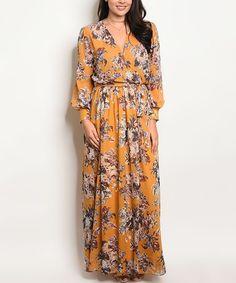 Love this Mustard Floral Bell-Sleeve Maxi Dress on #zulily! #zulilyfinds