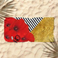 poppies, gold, stripes, fashion...