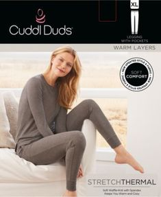 Cuddl Duds Stretch Waffle Thermal Leggings - Gray 5da0cf21e