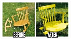 This great swing makes me want to start looking for an old rocker. If you are lucky and already have an old rocking chair lying around or you can to buy one at a garage sale then you can give the chair a new life. You can turn it into a cool and stylish kids ...