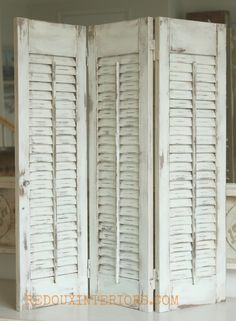 How to Paint Old Shutters and Use for Decor is part of Summer decor Paint - Old wood shutters get a brand new look with CeCe Caldwells Nantucket Spray, and secret no mess distressing tip! Shabby Chic Furniture, Painted Furniture, Diy Furniture, Bedroom Furniture, Furniture Plans, Garden Furniture, White Furniture, Bedroom Decor, Vintage Furniture