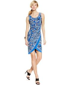 INC International Concepts Sleeveless Printed Tulip-Hem Sheath Dress