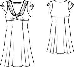 burda style, Schnittmuster - Kleid aus getupftem Pongé mit tiefem Ausschnitt und dekorativen Paspeln das Dekolleté