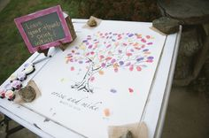 Wedding tree of guest's thumbs ♥
