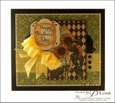 Mother's Day card using @JustRite Papercraft, Inc. Hugs & Kisses stamp set with @Spellbinders Imperial Gold Labels Four and Decorative Labels 22