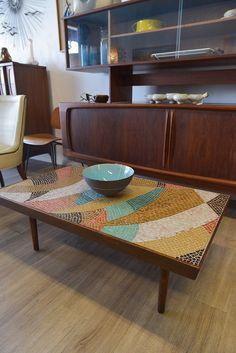 Mid Century Vintage Glass Tile Mosiac Coffee Table