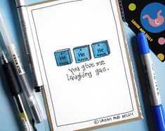 Chemistry Jokes | Pun Card | Hand Drawn | Greeting Card | Laugh and Belly | He He He (Helium) You Give Me Laughing Gas